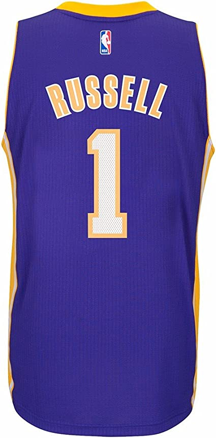 Adidas D'Angelo Russell Los Angeles Lakers Road Swingman Jersey Violet