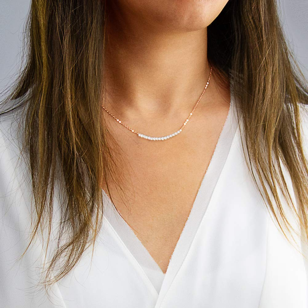Pearl Bar Necklace Handmade Rose Gold Plated Sterling Silver Necklace with 16 Real Freshwater Pearl Wedding Gift