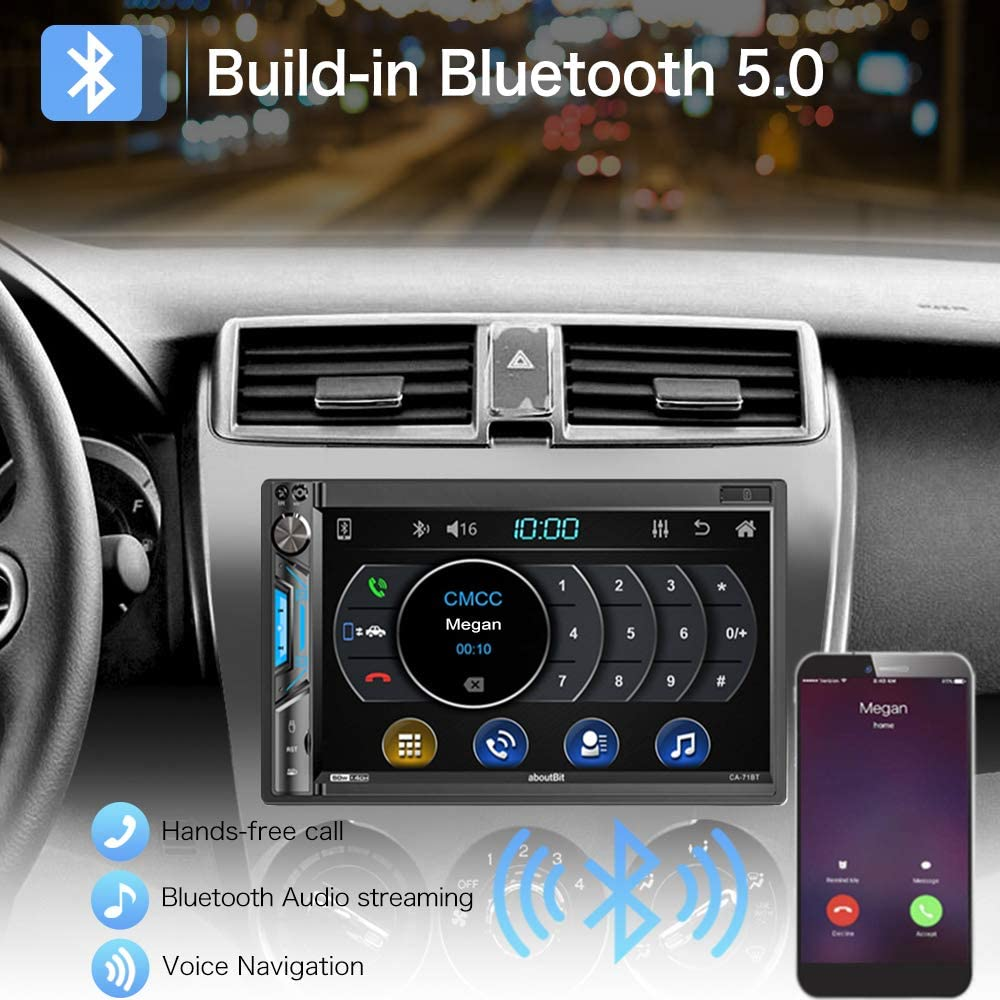 AM/&FM Radio|Subwoofer Output|7-Color Front /& Backup Camera Input Double Din Digital Multimedia Touch Screen Car Stereo Receiver MP5 Player,aboutBit HD 7 inch LCD|Phone Link|Bluetooth