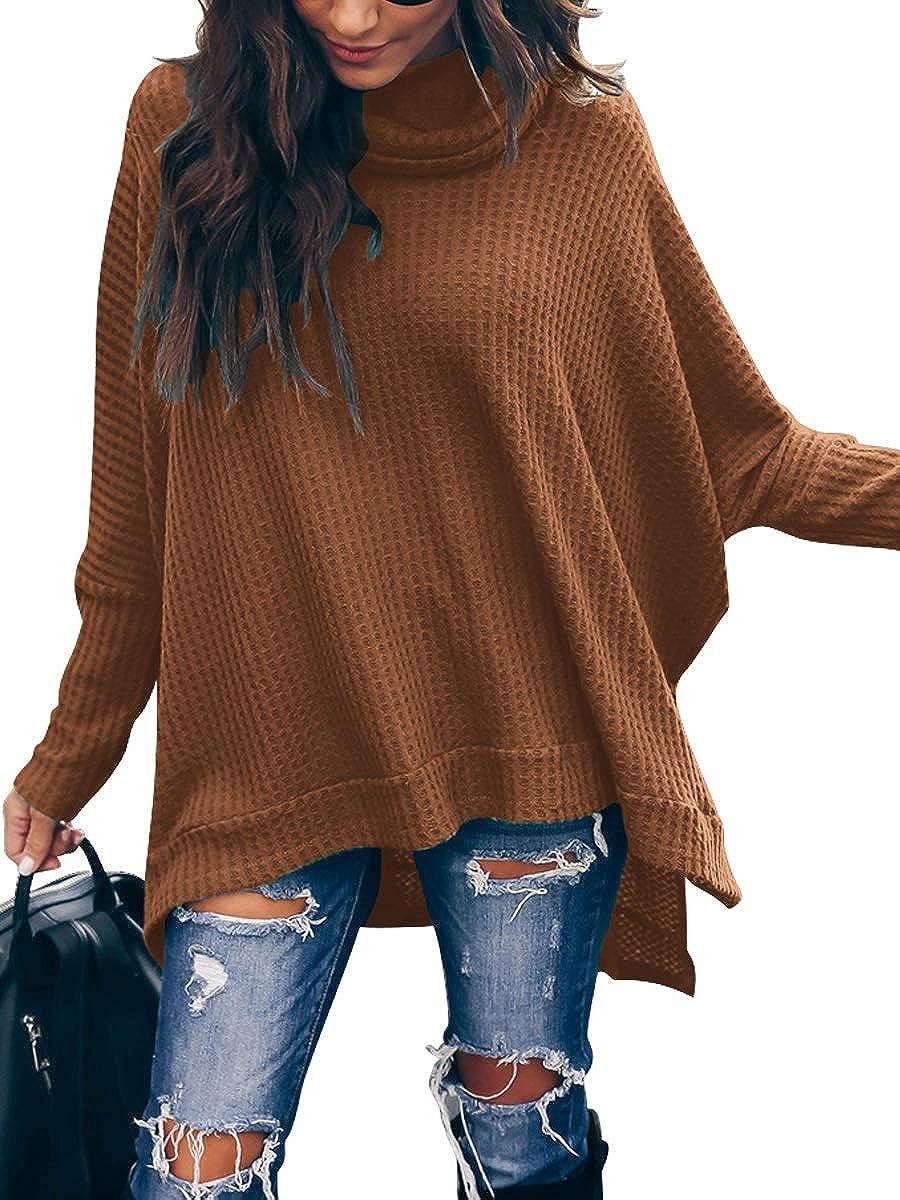 Romanstii Batwing Sweaters for Women Waffle Knit High Low Tops Sweatshirts Side Split Pullover Sweater Turtleneck Jumper