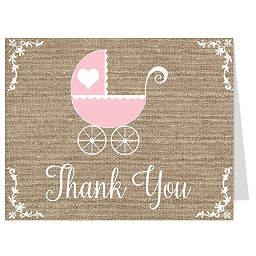 Burlap, Baby Shower, Thank You Cards, Carriage, Vintage, Pink, Girl, 50 Printed Folding Notes, Buggy, Retro,, Linen, Canvas, - Carriage Lace