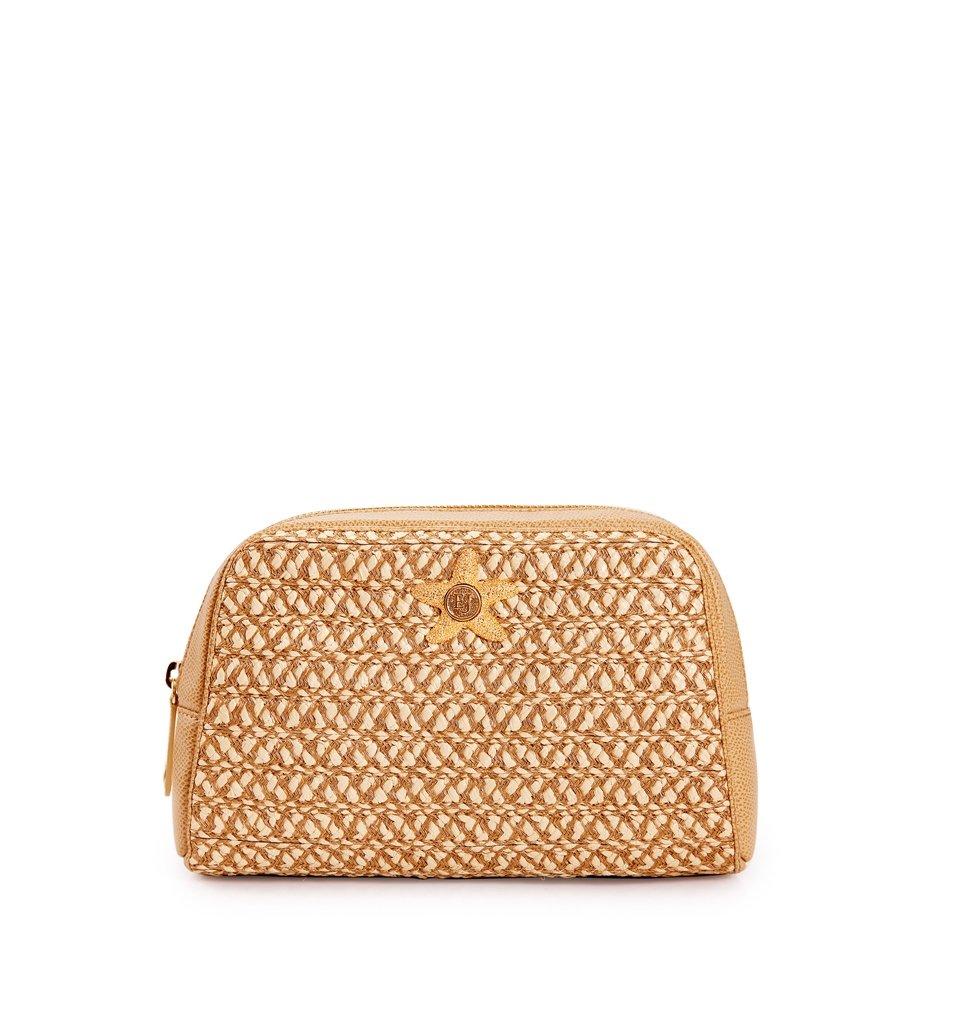 Eric Javits Luxury Fashion Designer Women's Handbag - Cosmetic Pouch Handbag - Peanut