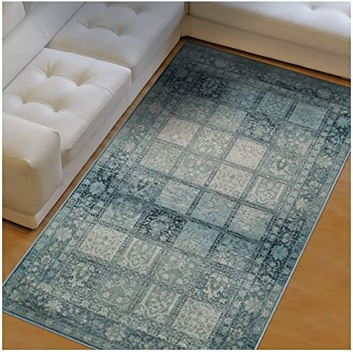 Superior Dexter Collection Area Rug, 10mm Pile Height with Jute Backing, Fashionable and Affordable Rugs, Distressed Vintage Persian Rug Design – 8 x 10 Rug, Blue and Beige
