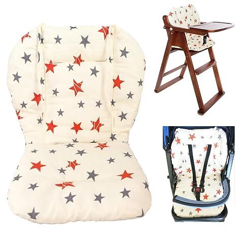 Cojín para silla de bebé alta, cojín para asiento de bebé cojín para silla alta, cojín de doble cara suave con patrón de estrellas, cojín transpirable ...