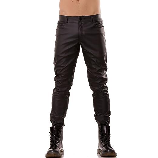 36 opinioni per Toocool- Pantaloni uomo ecopelle neri slim moto elasticizzati zip nuovi PE3069