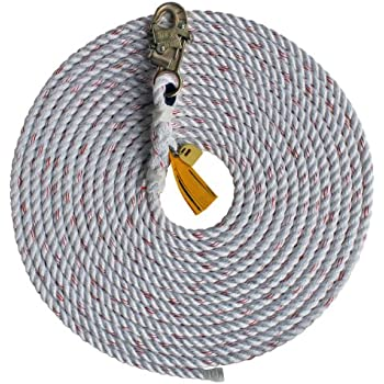 3M Protecta AC215A1 3M Protecta Nylon 50-Inch Verttical Drop Line Rope Hook On One End Of Rope White 5//8-Inch