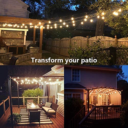 SUNTHIN 2 Pack 48FT Outdoor String Lights with 11W Dimmable Edison Bulbs for Decorative Backyard, Patio, Bistro, Pergola Commercial Hanging Lights String 5
