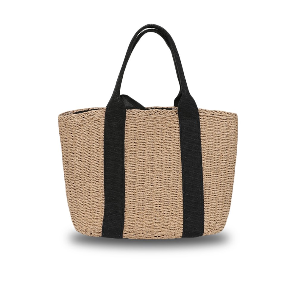 Straw Woven Bag, Handmade Rattan Straw Handbag, Vintage Retro Straw Knitted Messenger Bag Summer Beach Shoulder Bag (Light Brown)