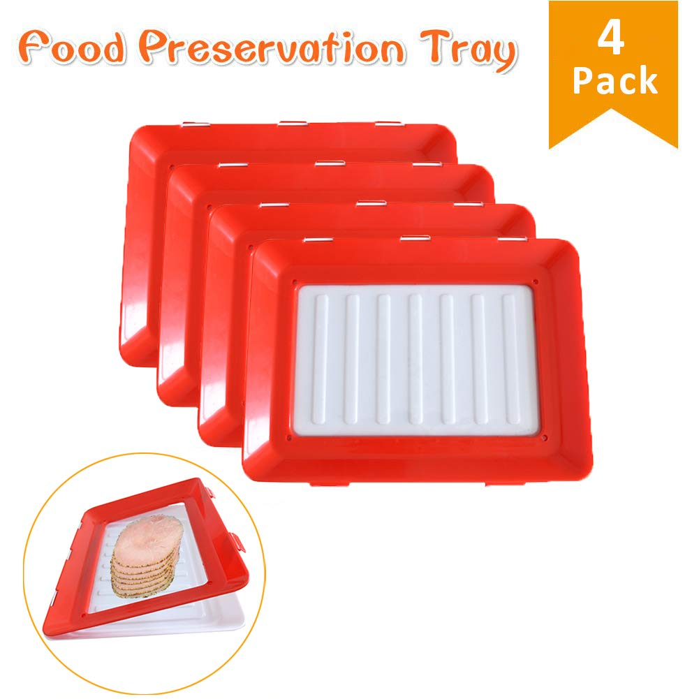 Food Tray Plastic Preservation Tray, Healthy Seal Food Storage Container Kitchen Tools for Vegetable, Fruits, Meat, Fish by Vaughenda