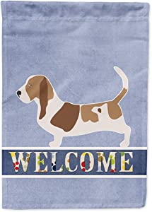 Caroline's Treasures BB5506GF Basset Hound Welcome Flag Garden Size, Small, Multicolor