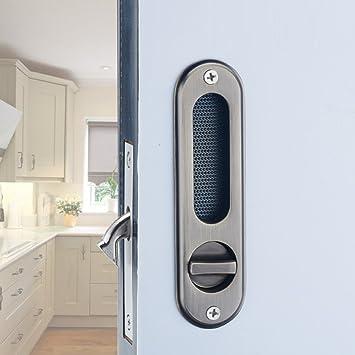 HSBAIS Inicio cocina baño puerta corredera cerradura hardware Zinc aleación construcción Silent Mechanical Lock Seguridad puerta de madera maciza conjunto manija,bronze: Amazon.es: Bricolaje y herramientas