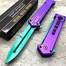 "NEW TAC-FORCE Purple & Green Blade ""Why So Serious"" The Joker Tactical Pocket Knife"