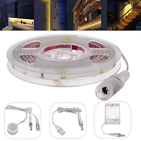 Sensor LED Strip, glisteny Sensor de movimiento tira LED, 150 cm 30LED flexible 5050