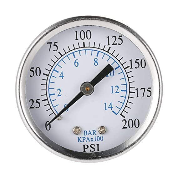 Heaviesk Medidor de presión de Aire Universal Compresor de Aire Hidráulico 0-200 PSI 0-14 Bar Atrás MNT 1/4 Pulgada NPT Doble Escala mostrada: Amazon.es: ...