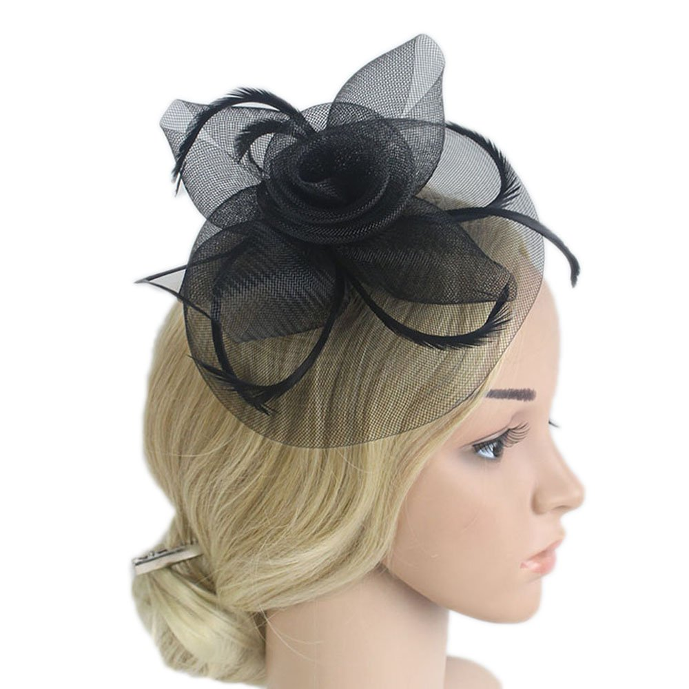 Rehot Fascinators for Women Flower Feather Womens Fascinators Pillbox Hat Hair Clip Veil Wedding Headwear (Black 3)