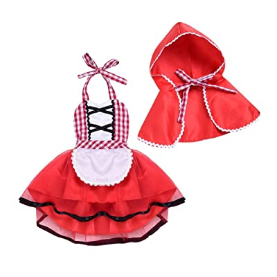 Toddler Baby Girls Little Red Riding Hood Costume Halloween Christmas Party Sunsuit Dress + Hoodie Cape 2pcs Outfit Set: Clothing