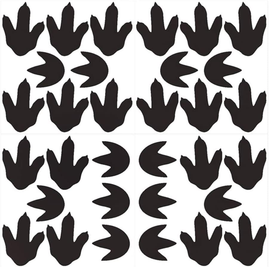 Bamsod Dinosaur Footprints Wall Stickers 32pcs Dinosaur Tracks Decals Dinosaur Decor Baby Nursery Decals Removable Peel and Stick Vinyl Decals