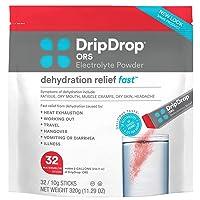 DripDrop ORS Electrolyte Hydration Powder Sticks, Watermelon, 10g Sticks, 32 Count