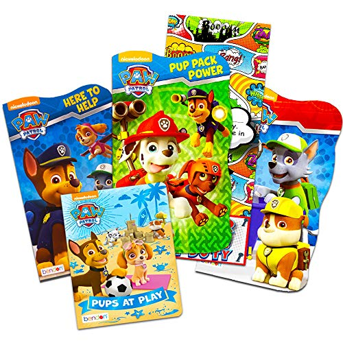 Nick Jr PAW Patrol Board Book Set -- 4 Shaped Board Books for Toddlers Kids with Door Hanger (Super Set) ()