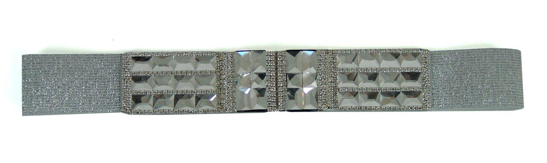 1164 StarDance Women's Jeweled Fine Fashion Elastic Belt (Medium (Waist 28''-30''), Silver)