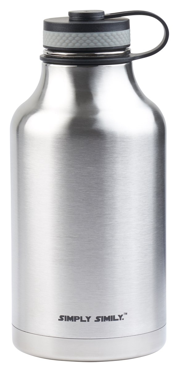 Simply Simily Beer Growler and Stainless Steel Water Bottle - BPA Free - Wide Mouth - Double Wall Vacuum Insulation - 64 oz, Silver