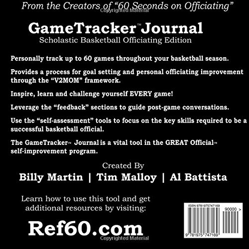 gametracker journal scholastic basketball officiating edition
