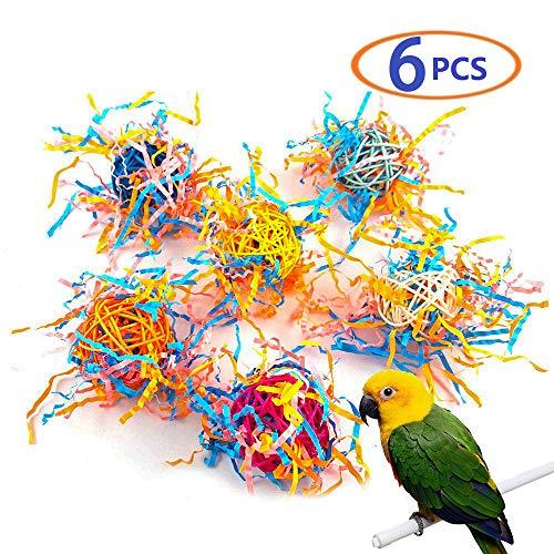 Pet Shredder Toys,Parrot Toy,Bird Bell Ball for Parakeet Cockatiel Chew Fun Cage Pet Bird Toy 6pcs