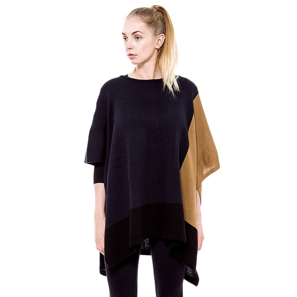 Black Navy and Topaz Brown Three Tone Knit Poncho Oversized Style fashion