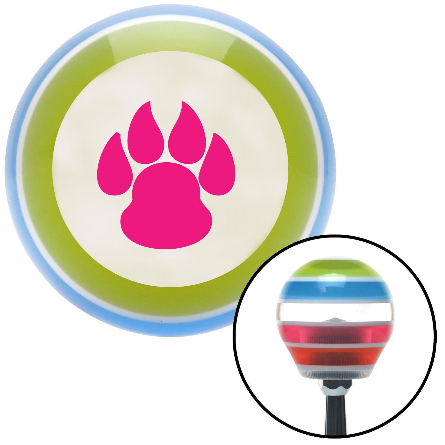 Pink Pawprint Sharp American Shifter 130712 Stripe Shift Knob with M16 x 1.5 Insert