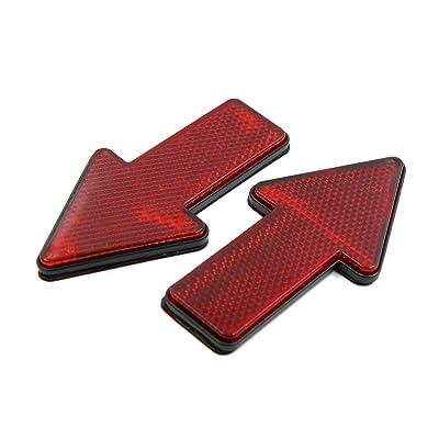 uxcell 2pcs Red Plastic Arrow Shape Vehicle Car Reflector Reflective Plate Sticker: Automotive