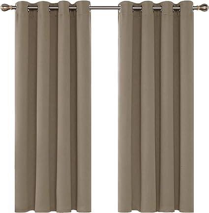 117x138cm Deconovo Rideau Occultant Oeillet Fen/être Decoratif Salon Anti Chaleur Isolation Thermique /Économiser de l/énergie pour Chambre 1 Pcs Gris Fonc/é