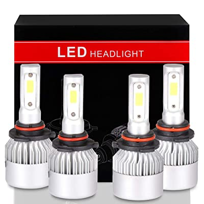 OCPTY 9005+9006 LED Headlight Bulb, 160W 6000K 16000LM Hi/Lo Beam Conversion Kit LED Headlamp Super Brighter - 1 Year Warranty(4pcs): Automotive