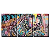 wall26 - 3 Piece Canvas Wall Art - Fantasy Portrait on a Theme of Dream Catcher Talisman of North American Lacota Tribe - Modern Home Decor Stretched and Framed Ready to Hang - 16'x24'x3 Panels