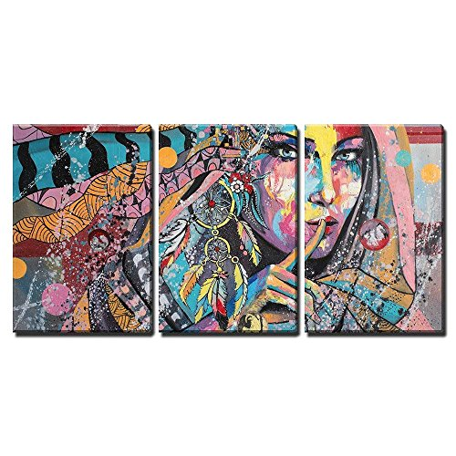 wall26 - 3 Piece Canvas Wall Art - Fantasy Portrait on a Theme of Dream Catcher Talisman of North American Lacota Tribe - Modern Home Decor Stretched and Framed Ready to Hang - 16