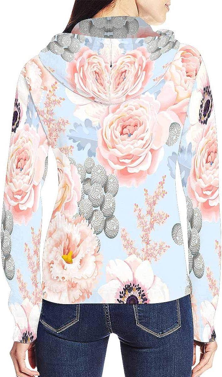 INTERESTPRINT Womens Eustoma and Roses Flowers Full-Zip Hooded Jacket L