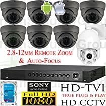 USG Sony DSP HD-TVI 8 Camera 2MP 1080P CCTV Kit: 1x 16 Channel DVR + 7x 2.8-12mm MOTORIZED LENS Dome Camera + 1x 4.7-94mm PTZ Camera + 1x 4TB HDD ** HD Video Surveillance for Your Home or Business