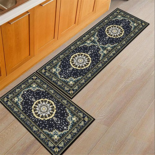 Rubber Back Home And Kitchen Rugs Non Skid/Slip Decorative Runner Door Mats Low  Profile Modern Thin Indoor Floor Area Rugs For Kitchen