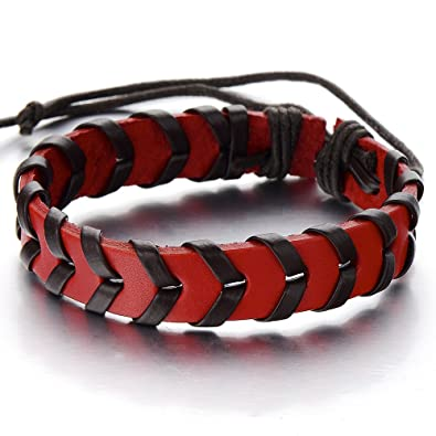 5465176d70f7dc Image Unavailable. Image not available for. Color: COOLSTEELANDBEYOND Hand-Made  Mens Women Red and Brown Braided Leather Bracelet Genuine Leather Wristband  ...