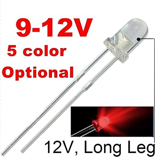 50pcs 12v 3mm Red Led Built In Resistor 9v Gauge Cluster Instrument Light Emitting Diodes Amazon Com