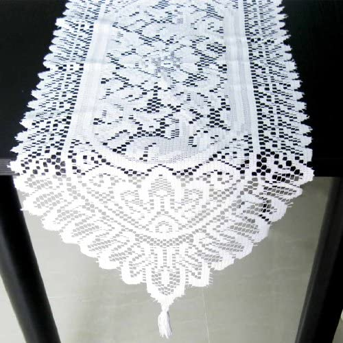 White COMINHKPR57964 35 x 13 inch kilofly Heritage Floral Lace Table Runner with Tassels