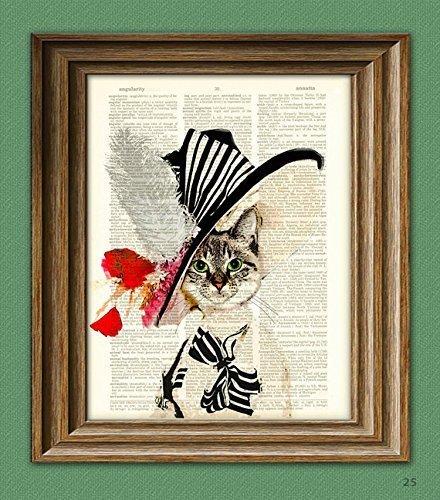 (Audrey Hepburn My Fair Kitty Cat illustration beautifully upcycled dictionary page book art print Cat art print)