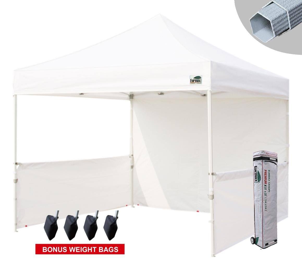 Eurmax Premium 10x10 Instant Canopy Craft Display Tent Portable Booth Market Stall with Carry Bag, White