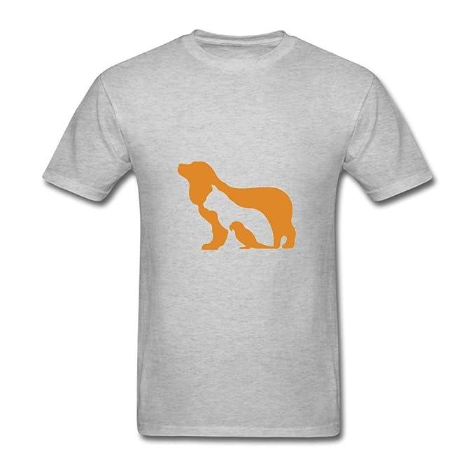 calyfree silueta perro gato pájaro Casual camiseta de manga corta para hombre L: Amazon.es: Ropa y accesorios