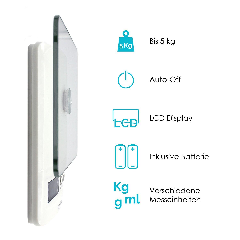 Amazon.de: KLAGENA digitale Küchenwaage mit LCD-Display, in weiß ...