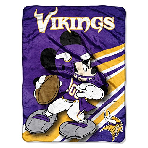 (NFL Minnesota Vikings Mickey Mouse Ultra Plush Micro Super Soft Raschel Throw Blanket)