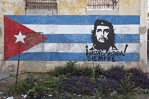 HistoricalFindings Photo: Hand Painted Mural of Cuban Flag,Che Guervara,Old Havana,Cuba,Neighborhood