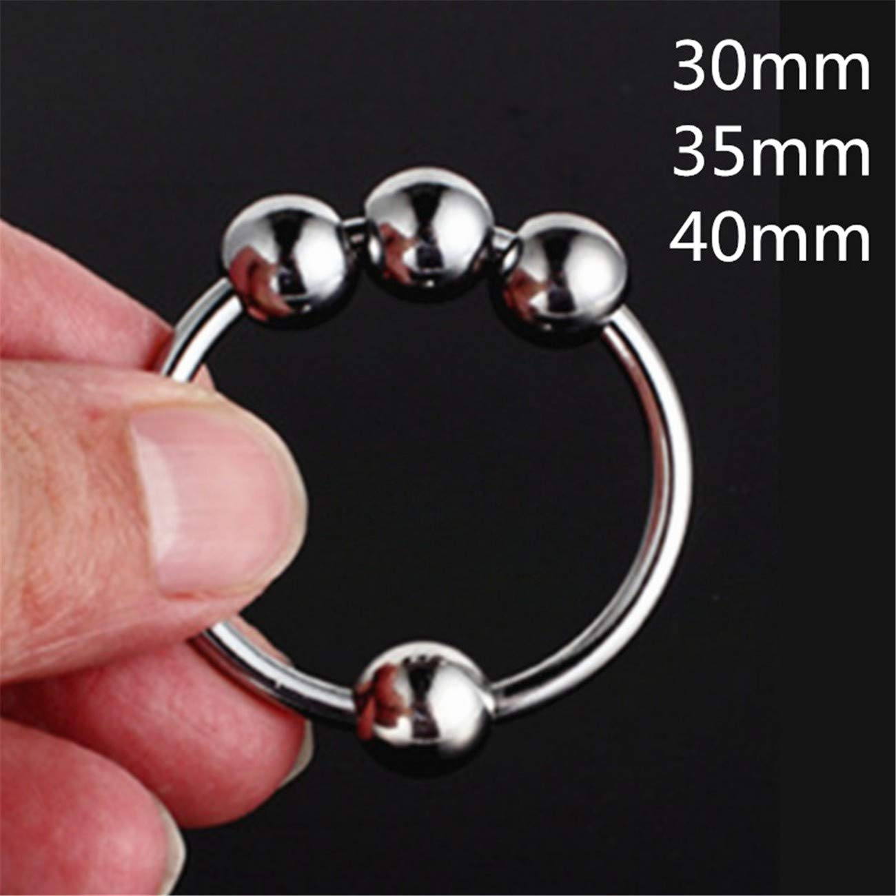 Beads 40Mm Stainless Steel Male Penis Ring Delay Ejaculation Newest Arrival C-ock R-ing with 4 Vibrating Bullet Glans Silicone Vibrator Beads for Male Adult Sex Toy G7-32 Silver L by Carlos Foushee (Image #1)