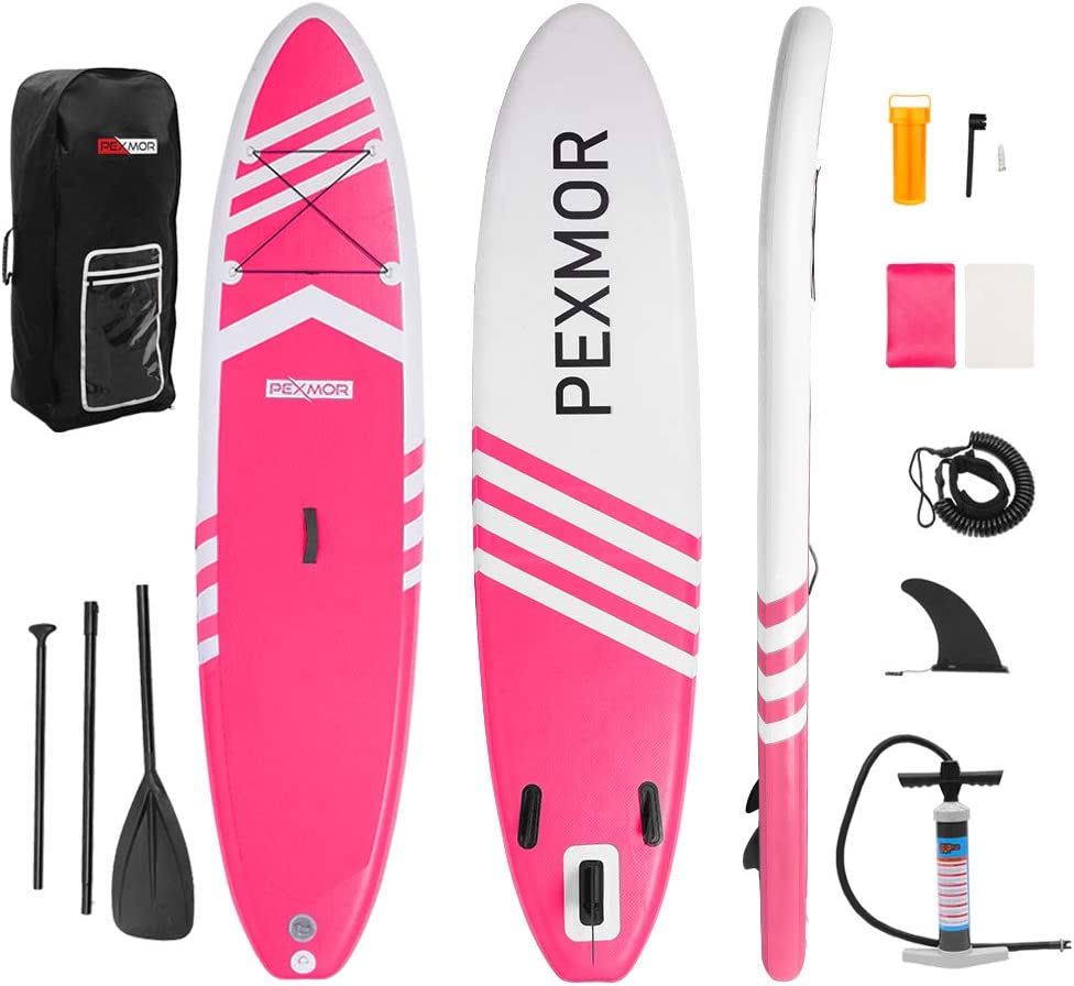 FCH PEXMOR Inflatable Paddle Boards Stand Up 10.5 x30 x6 ISUP Surf Control Non-Slip Deck Standing Boat with Carry Bag, Floated Paddle, Hand Pump, Removable Fin, Leash, Repair Kit