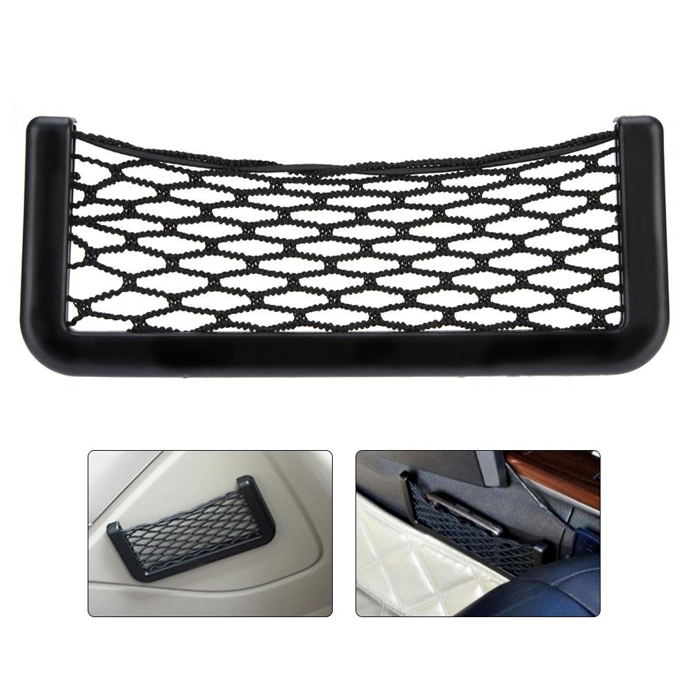 Black Storage Network Mesh Bag, Car Trunk String Bag Storage Net Pocket, Nylon Elastic Nets Sticky Bag Holder Organizer for Phones,Charge, Cigarettes, 20 × 8.5cm Keenso