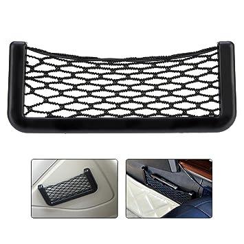 Bolsa de malla negra para coche, para maletero, de red elástica de nailon, organizador para teléfonos, cargadores y cigarrillos, 20 x 8,5 cm